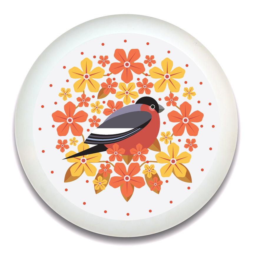 I Like Birds Blooms Round Bamboo Tray Bullfinch Sparkle Gift