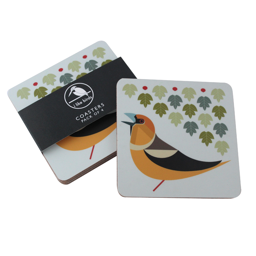 I Like Birds Coasters 4 Pack Hawfinch Sparkle Gift
