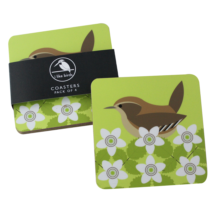 I Like Birds Coasters 4 Pack Wren Sparkle Gift