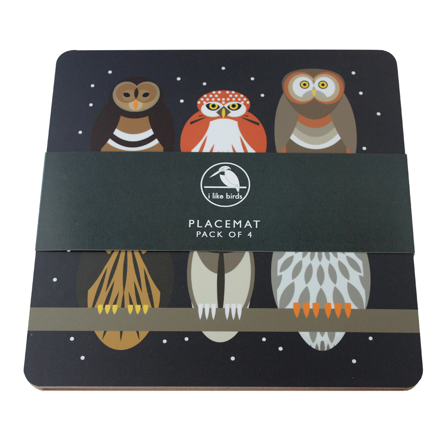 I Like Birds Placemats 4 Pack Owls Sparkle Gift