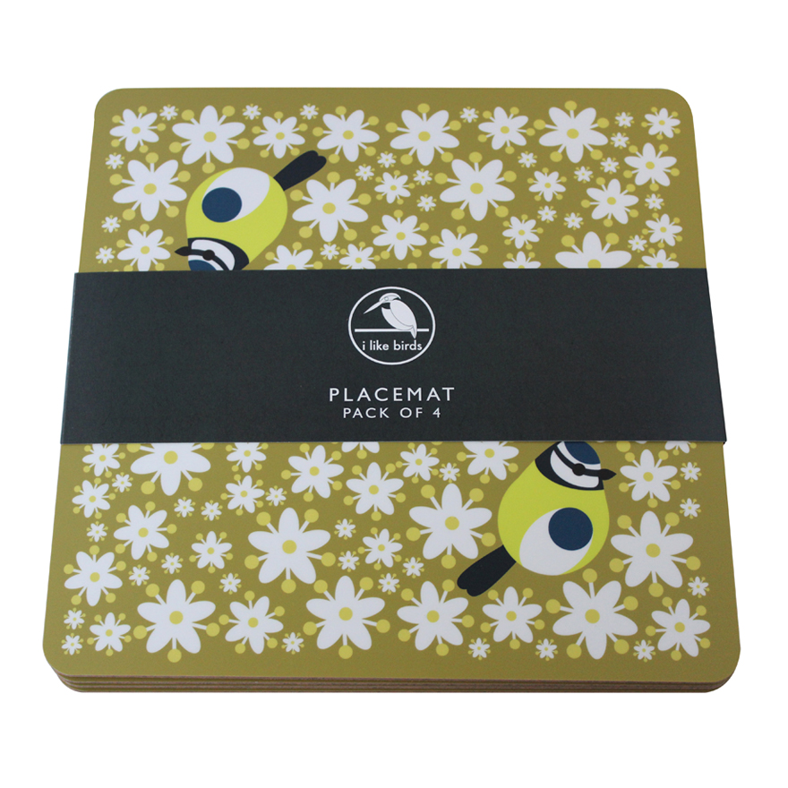 I Like Birds Placemats 4 Pack Blue Tit Sparkle Gift
