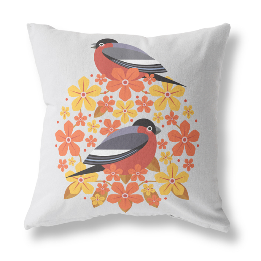 I Like Birds Blooms Cushion Cover Bullfinch Sparkle Gift