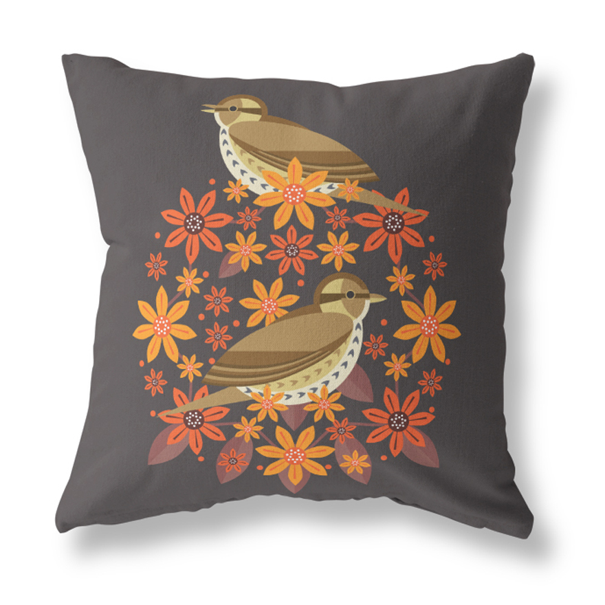 I Like Birds Blooms Cushion Cover Songthrush Sparkle Gift