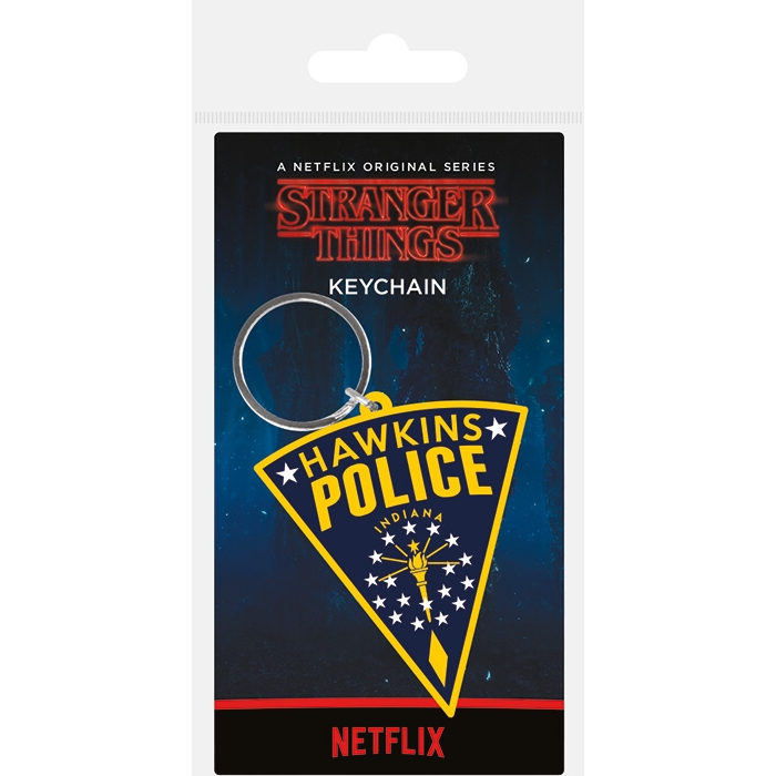 Stranger Things Keyring Hawkins Police Patch Sparkle Gift