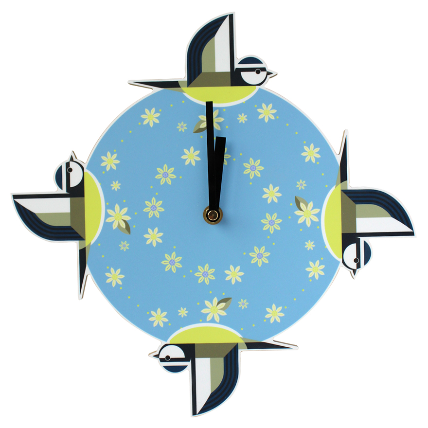 I Like Birds Wall Clock Blue Tit Sparkle Gift