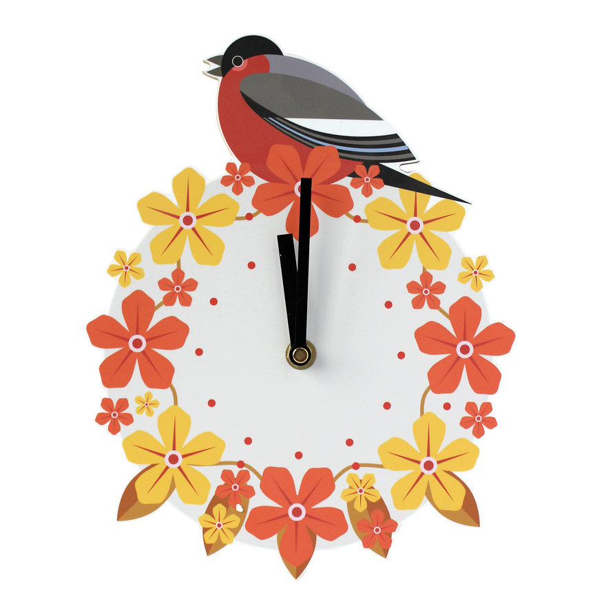 I Like Birds Wall Clock Bullfinch Sparkle Gift