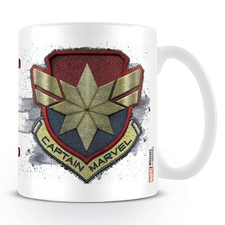 Marvel Boxed Mug Captain Marvel Badge Sparkle Gift