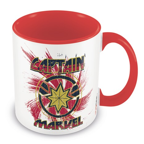 Marvel Boxed Mug Coloured Inner Captain Marvel Red Sparkle Gift