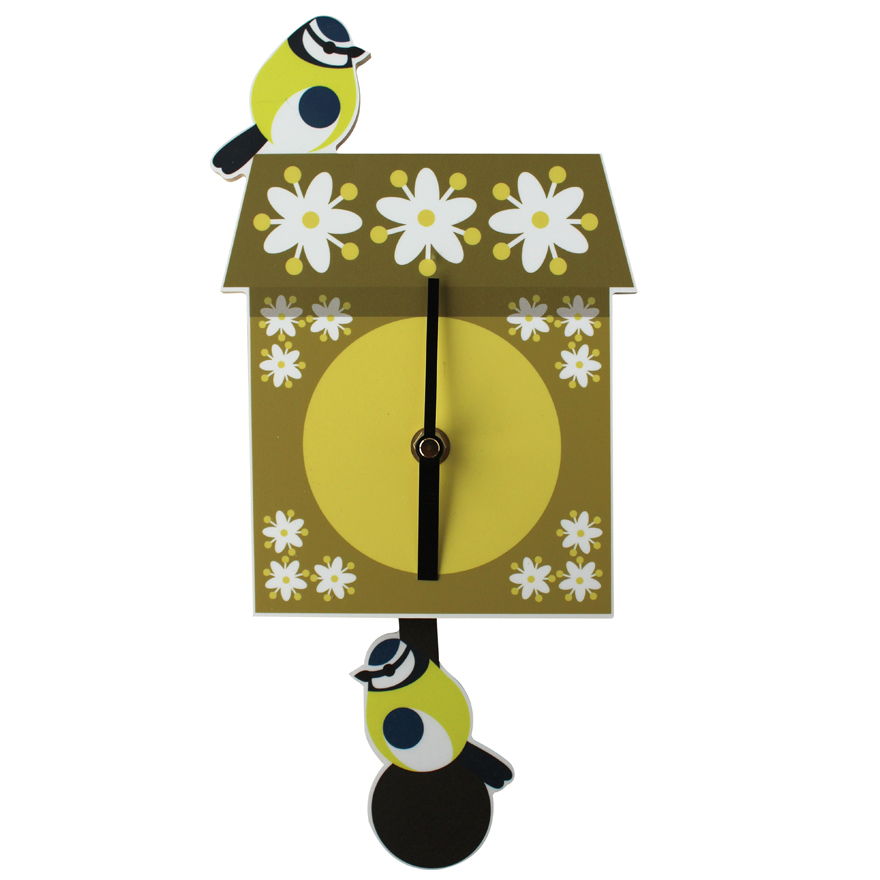 I Like Birds Wall Clock Blue Tit Pendulum Sparkle Gift