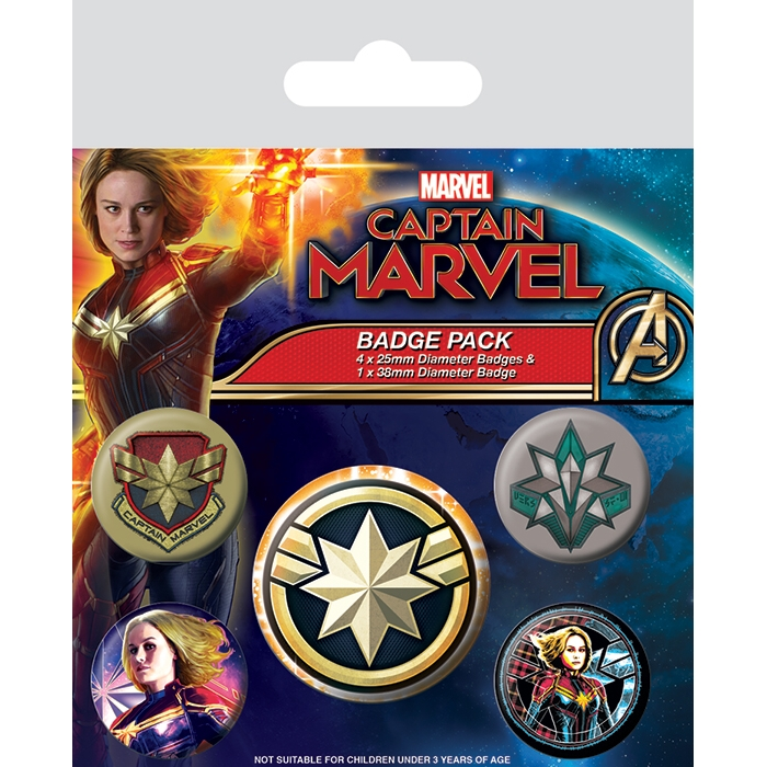 Marvel Badge Pack Captain Marvel Patches Sparkle Gift