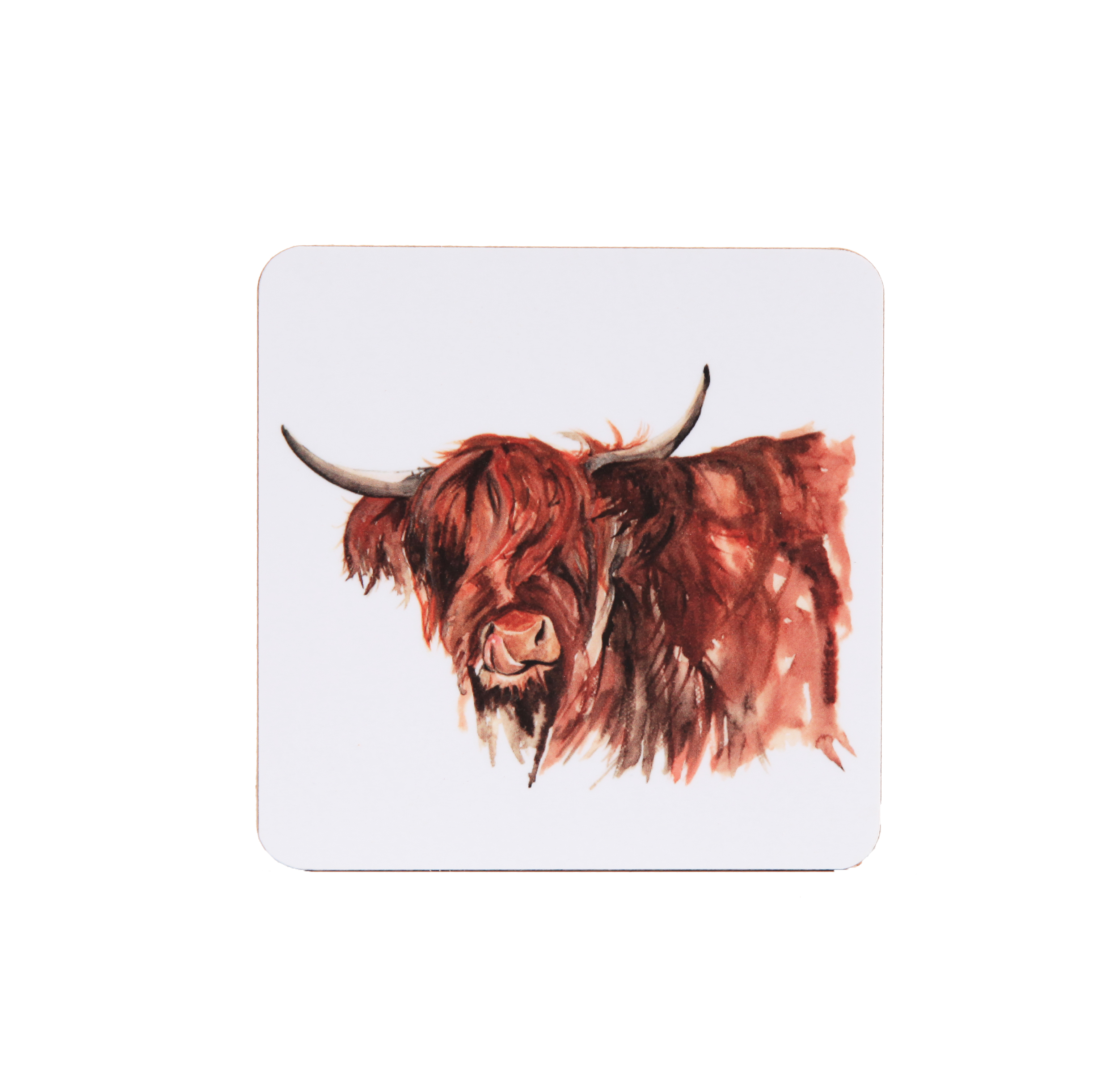 Meg Hawkins Coaster Highland Cow White Sparkle Gift