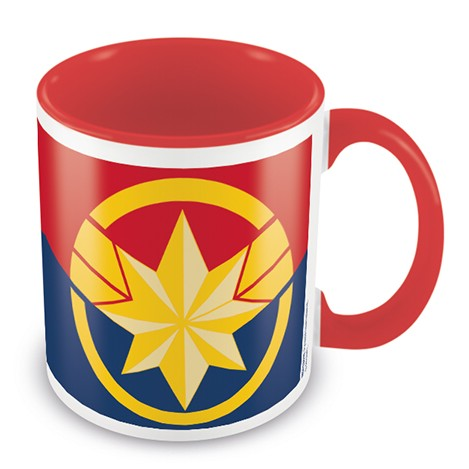 Marvel Boxed Mug Coloured Inner Captain Marvel Emblem Sparkle Gift