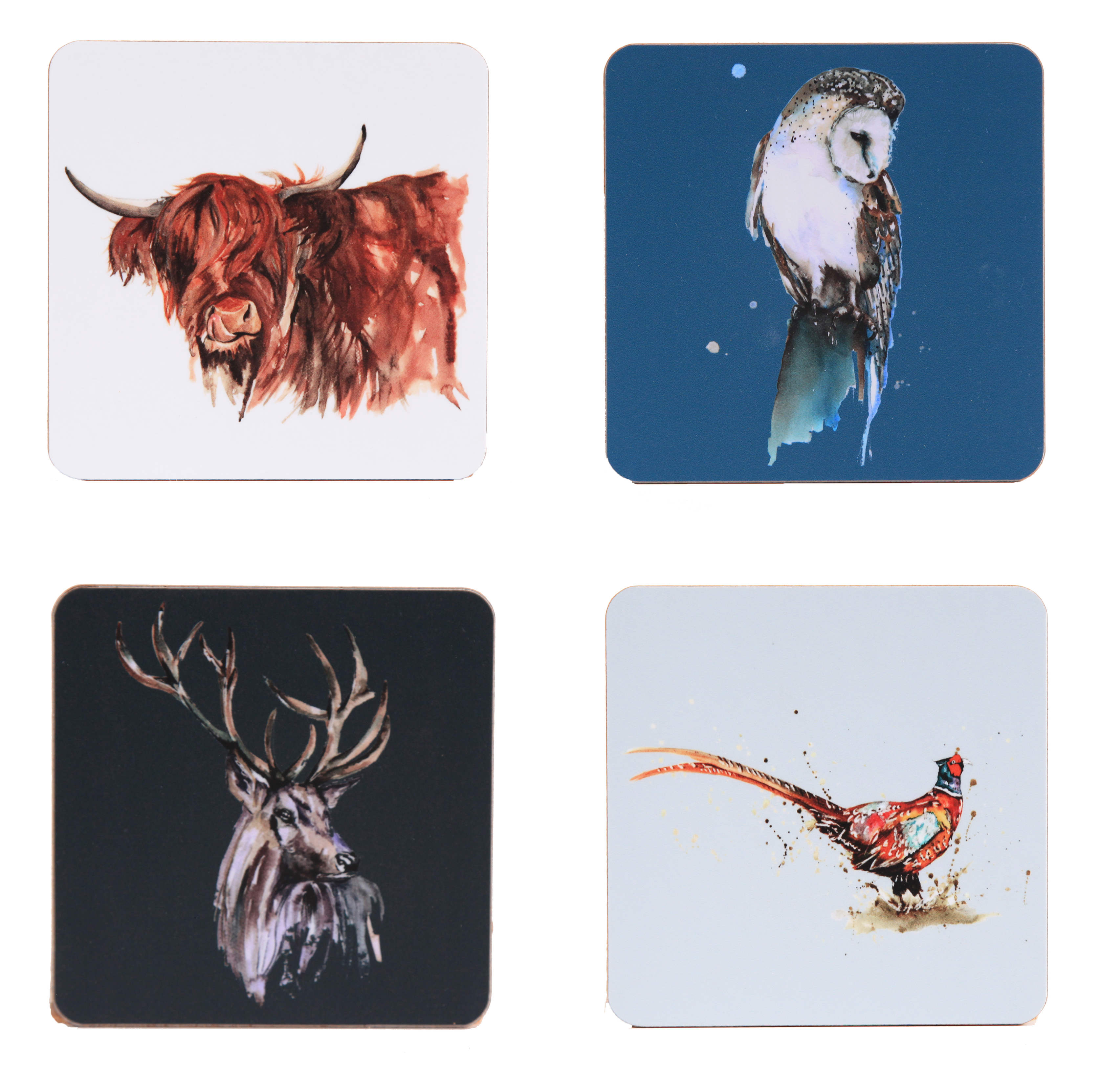 Meg Hawkins Coaster 4 Pack Mixed Wildlife Sparkle Gift