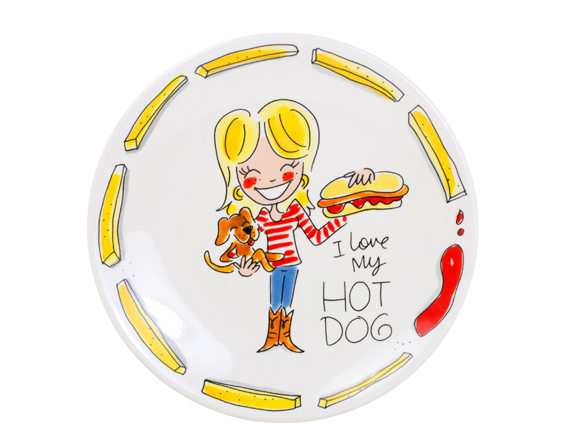Blond Snack Plate 22 Cm Hot Dog Sparkle Gift