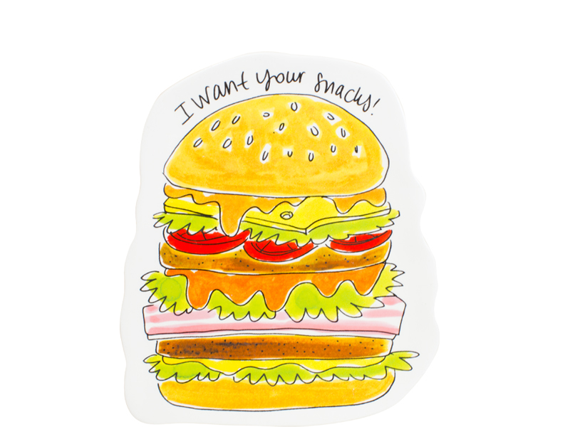 Blond Snack 3d Plate Hamburger 19.5 X 16.5 Cm Sparkle Gift