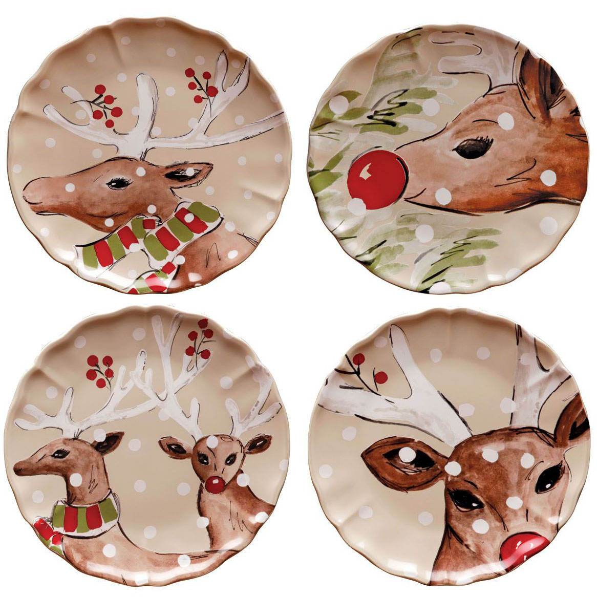 Deer Friends Linen Set 4 Dinner Plates 27cm X1 Sparkle Gift