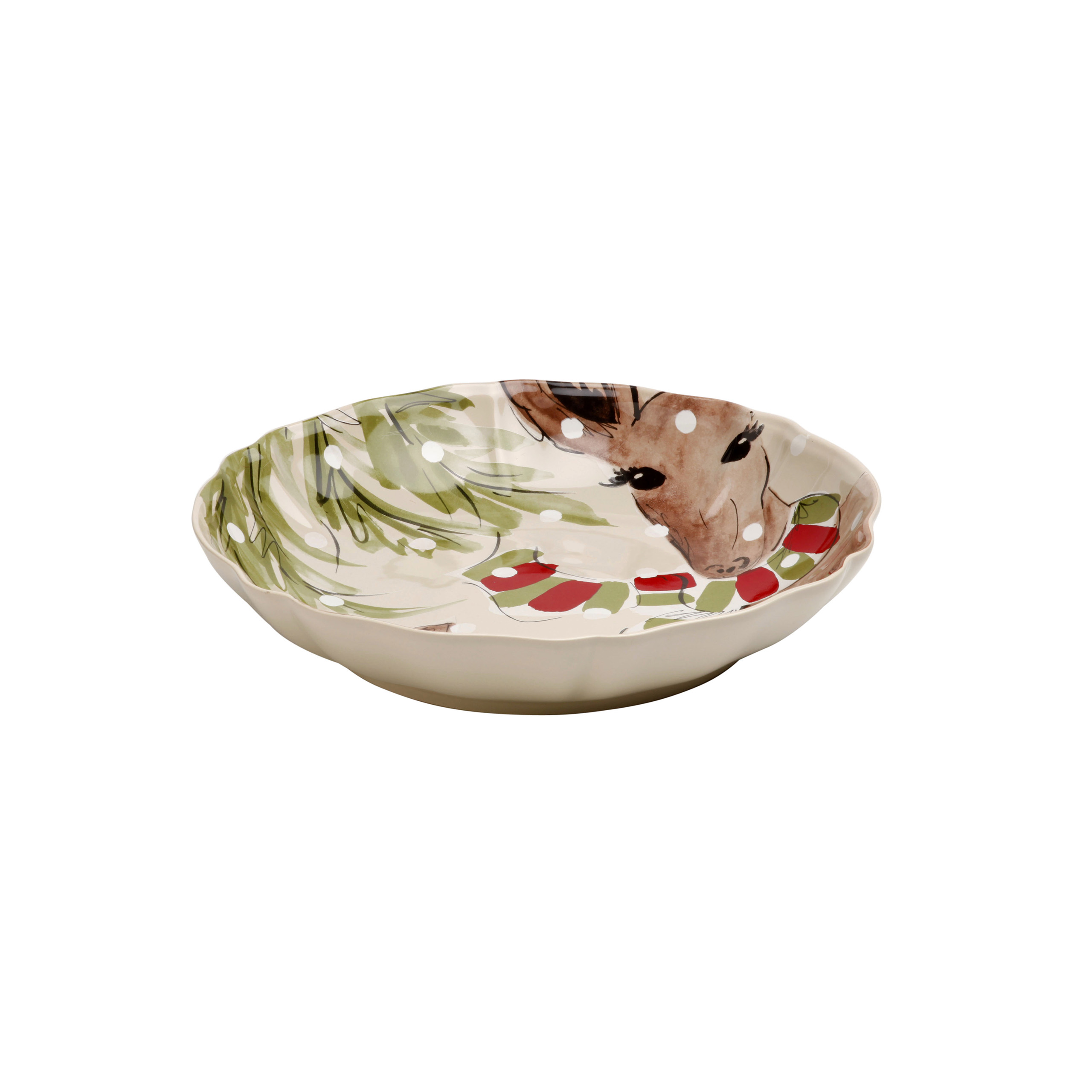 Deer Friends Linen Pasta/serving Bowl 34cm X1 Sparkle Gift
