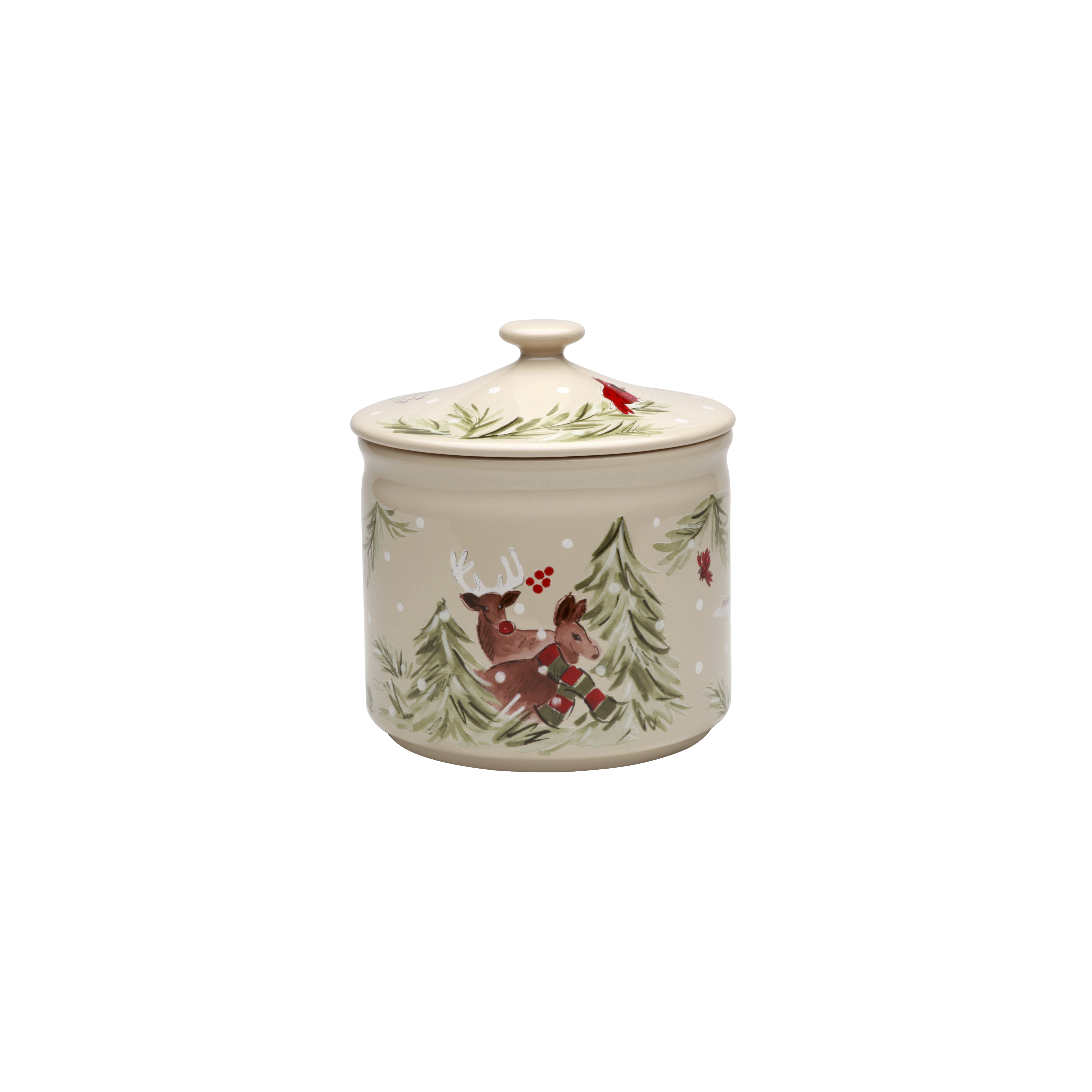 Deer Friends Linen Cookie Jar/canister 2.77l X1 Sparkle Gift