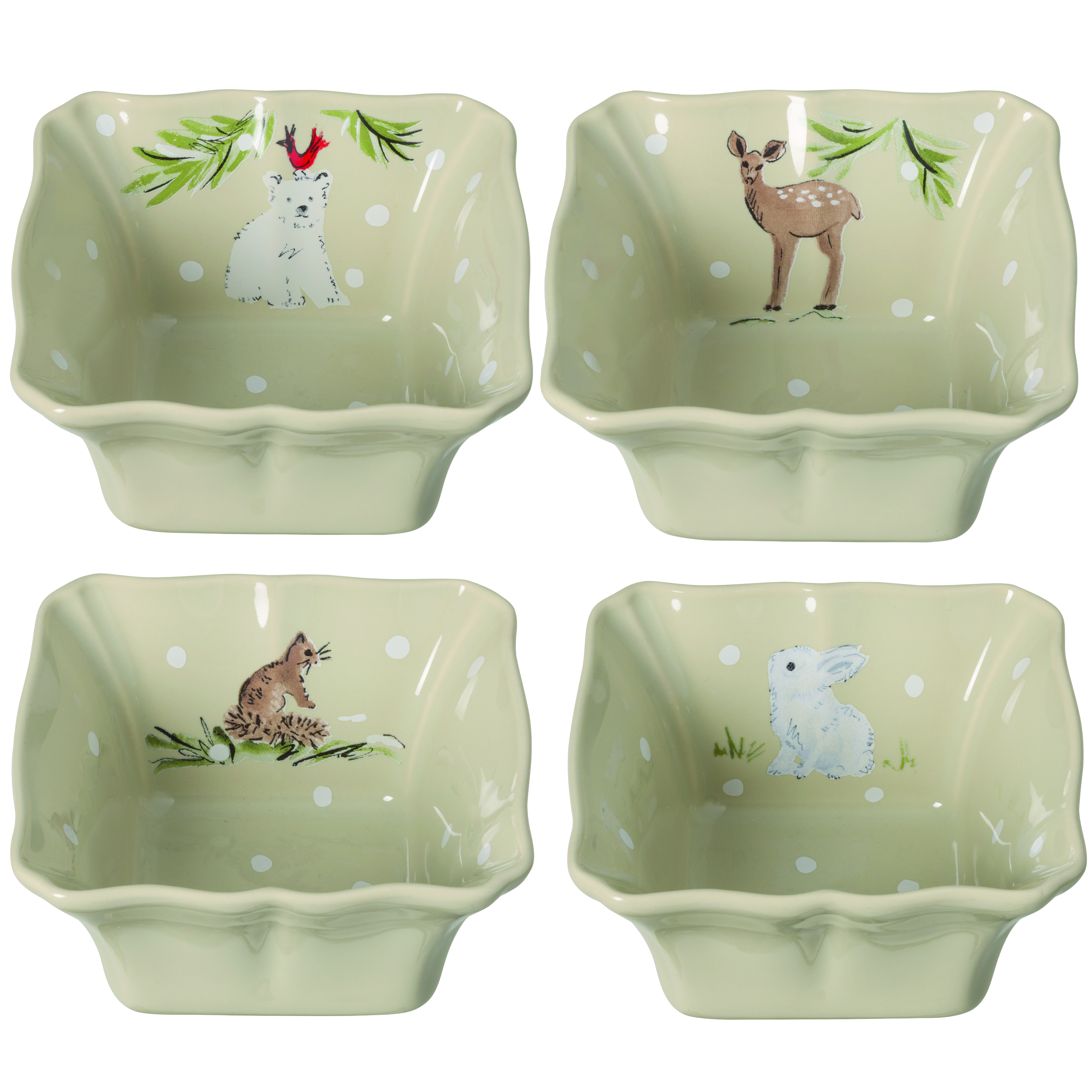 Deer Friends Linen Set 4 Individ Bakes 12.2cm X1 Sparkle Gift