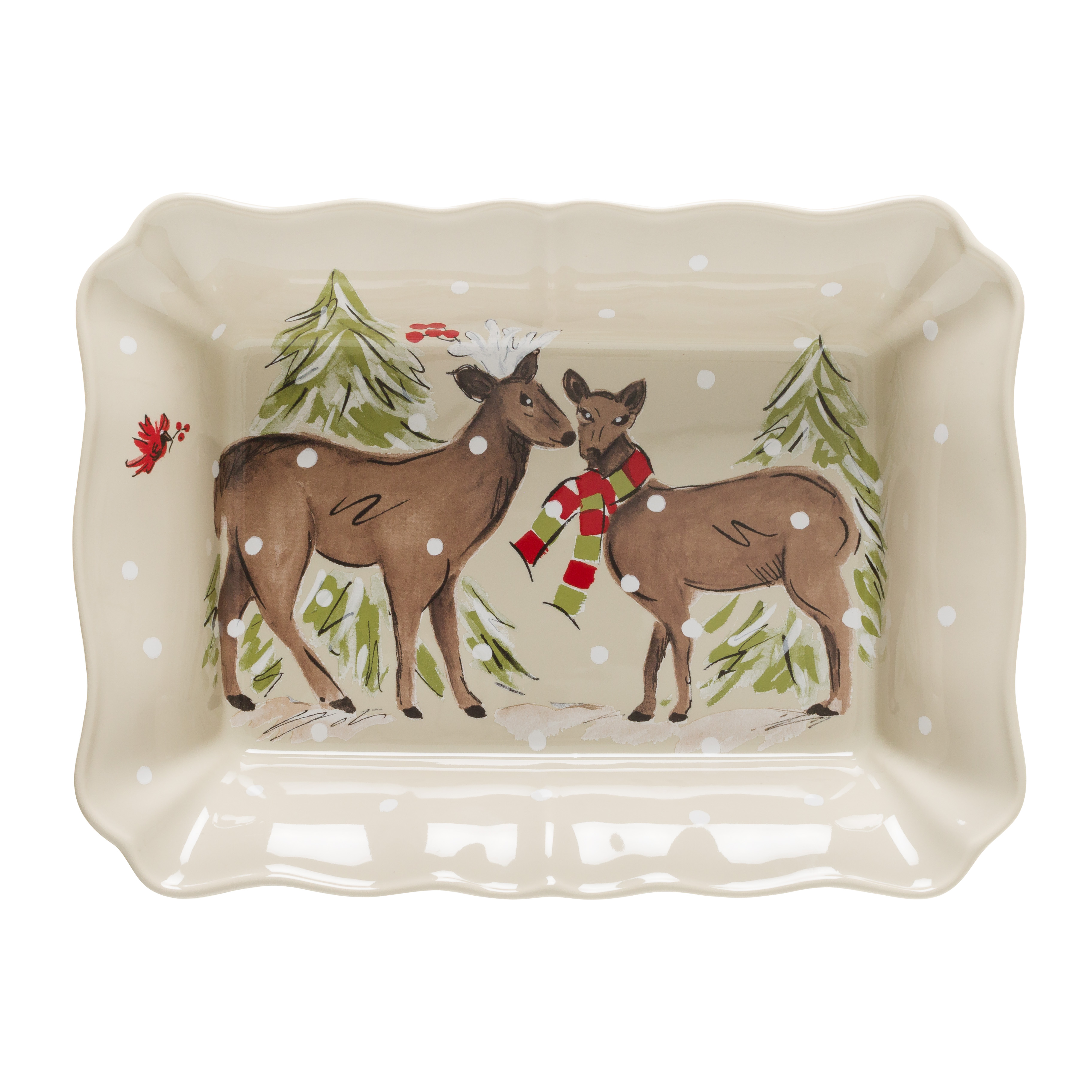 Deer Friends Linen Rect. Baker Large 36.1cm X1 Sparkle Gift