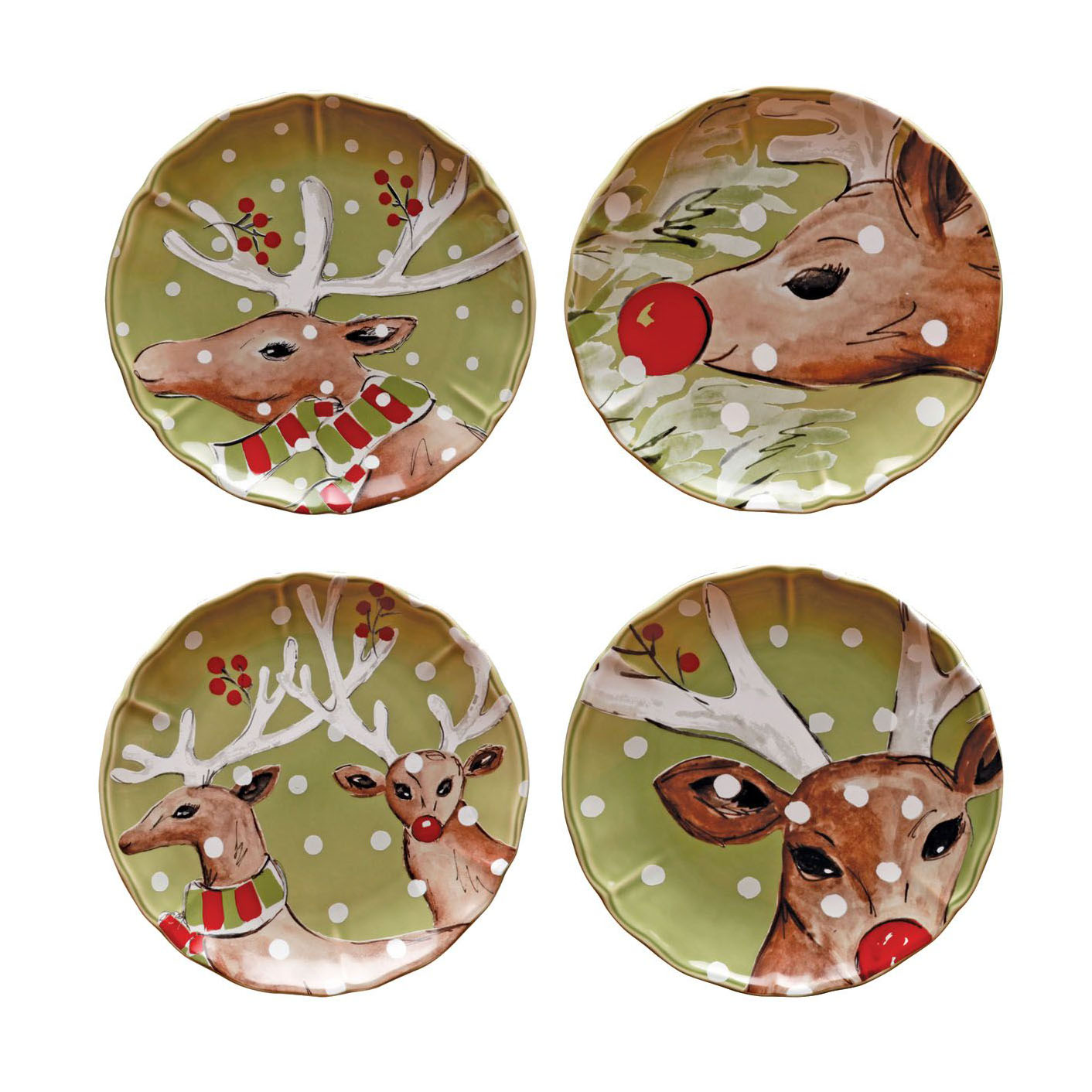Deer Friends Green Set 4 Salad Plates 21.4cm X1 Sparkle Gift