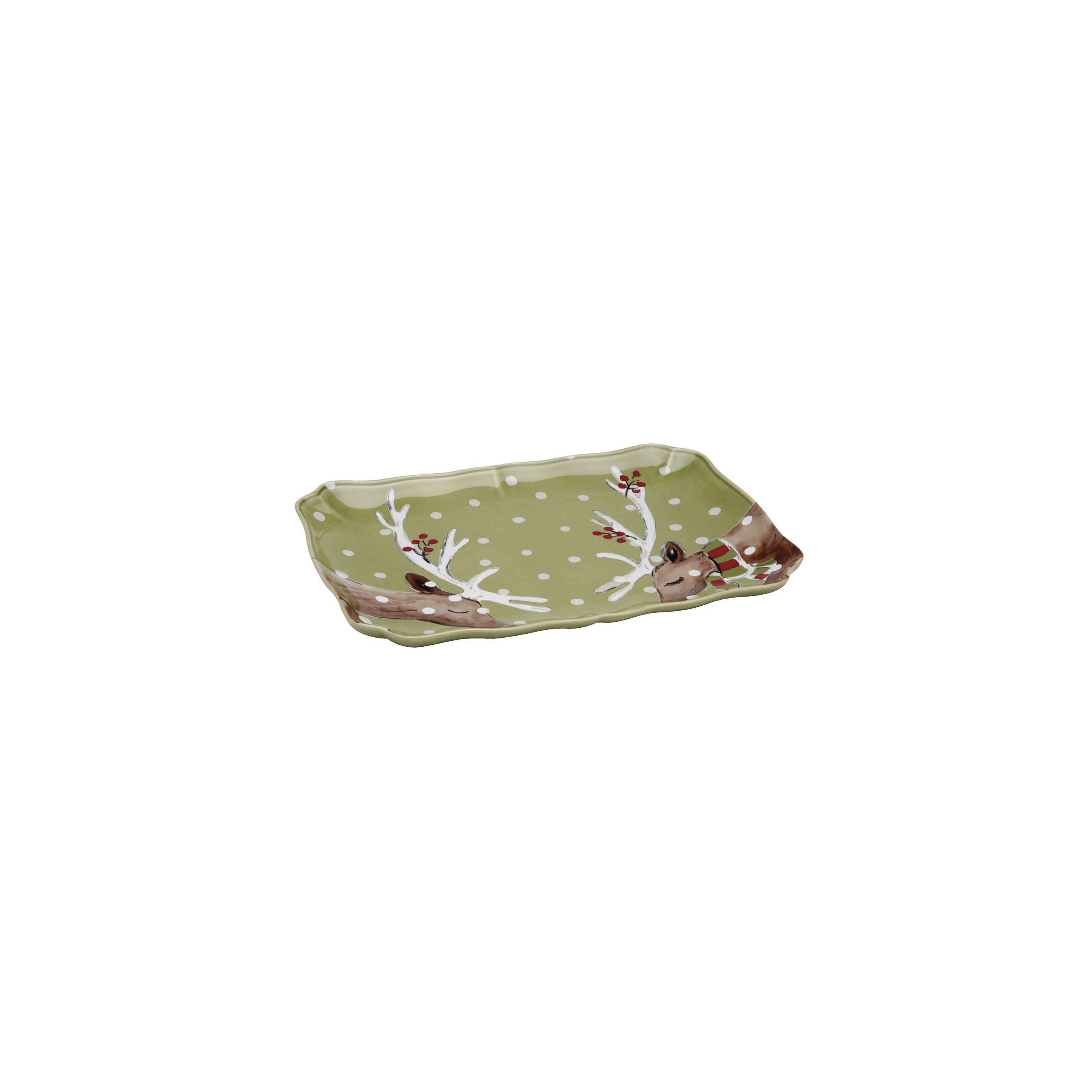Deer Friends Green Rect. Platter 36.7cm X1 Sparkle Gift
