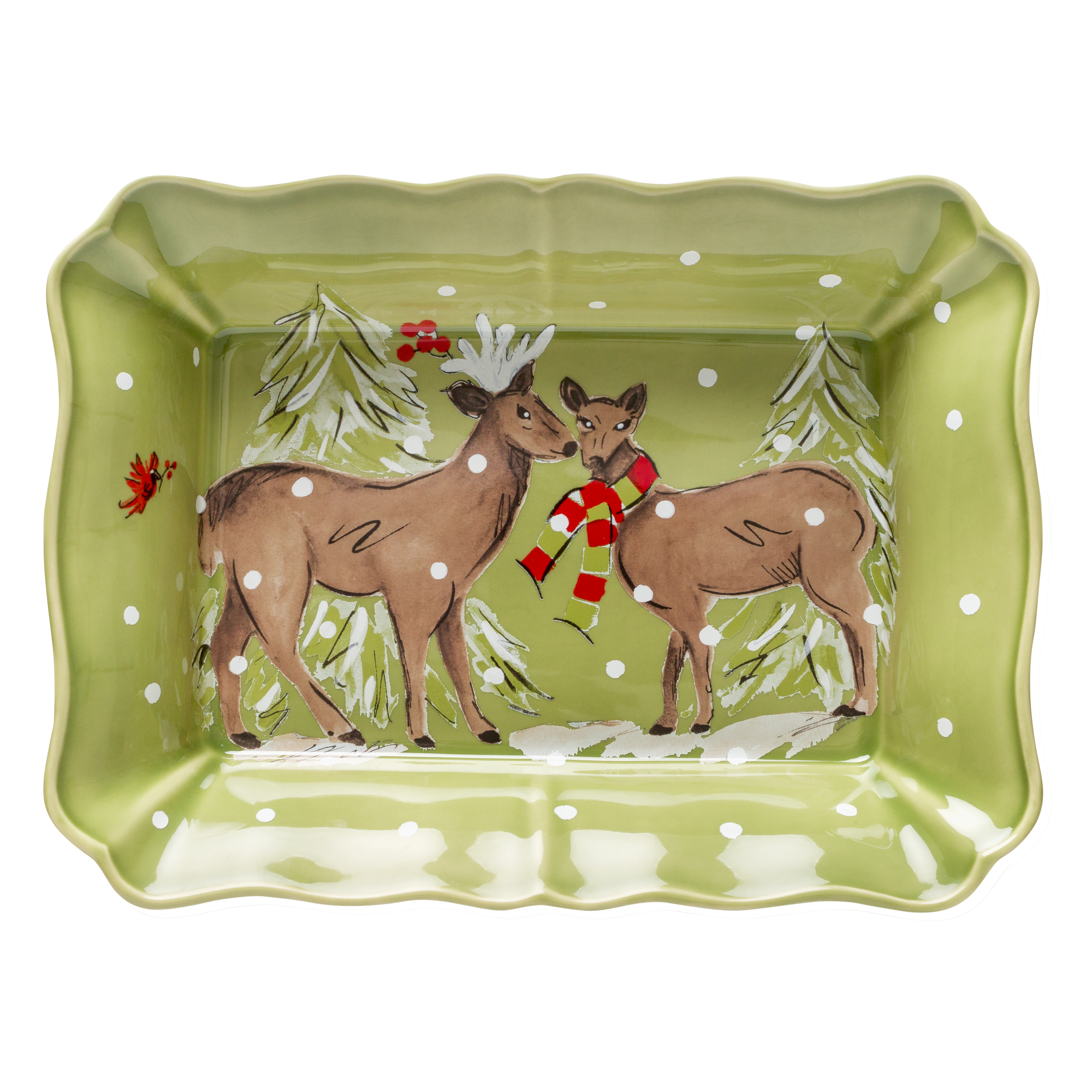 Deer Friends Green Rect. Baker Large 36.1cm X1 Sparkle Gift