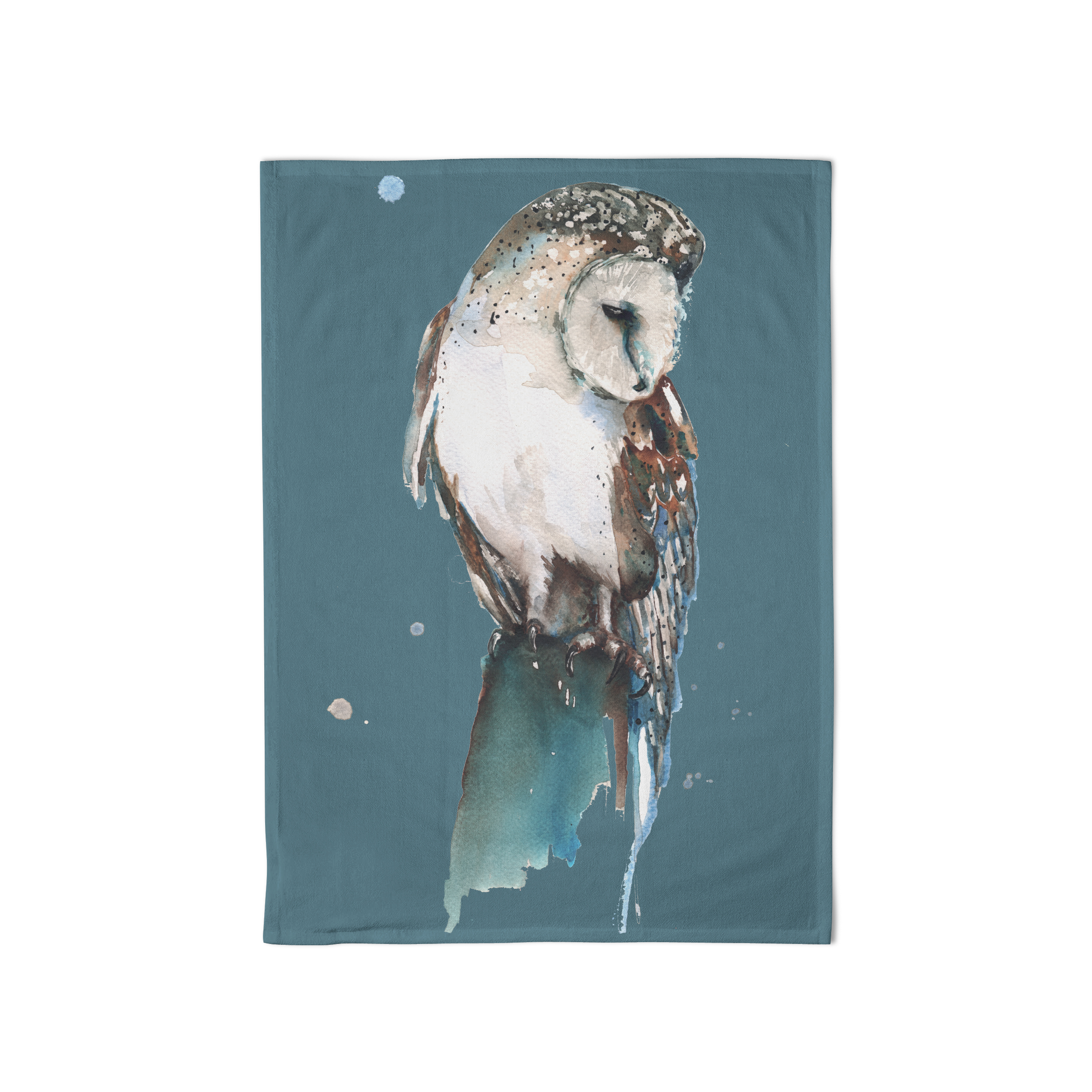Meg Hawkins Tea Towel Owl Blue Sparkle Gift
