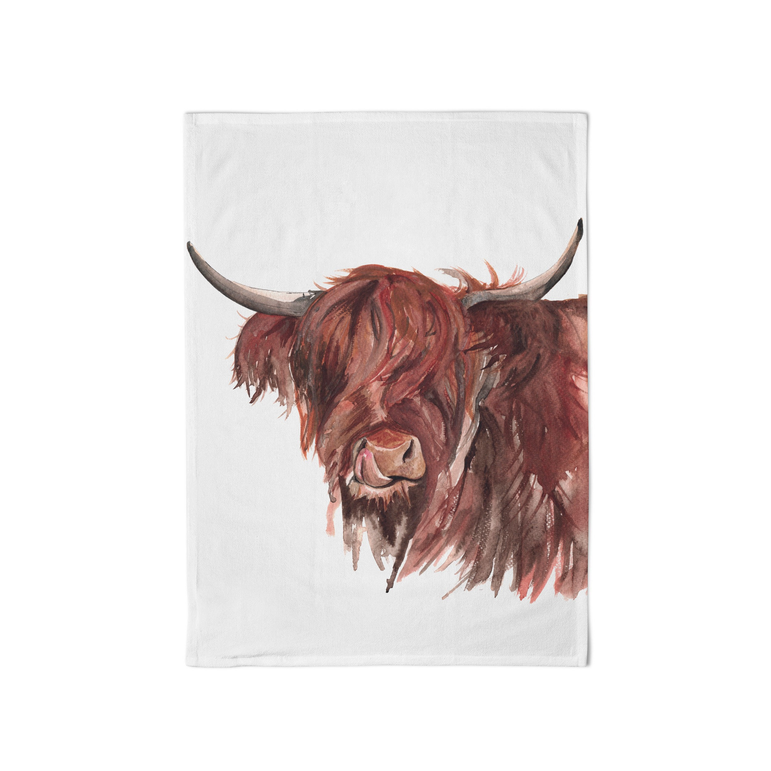 Meg Hawkins Tea Towel Highland Cow White Sparkle Gift
