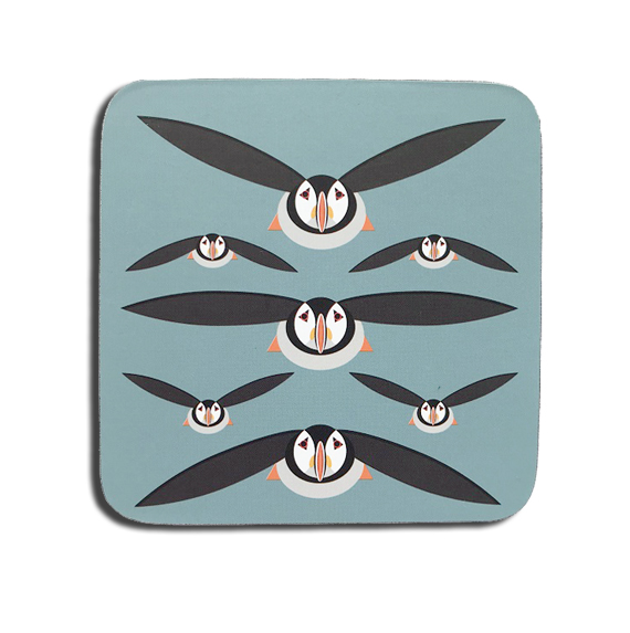 I Like Birds Coaster Puffin Repeat Sparkle Gift