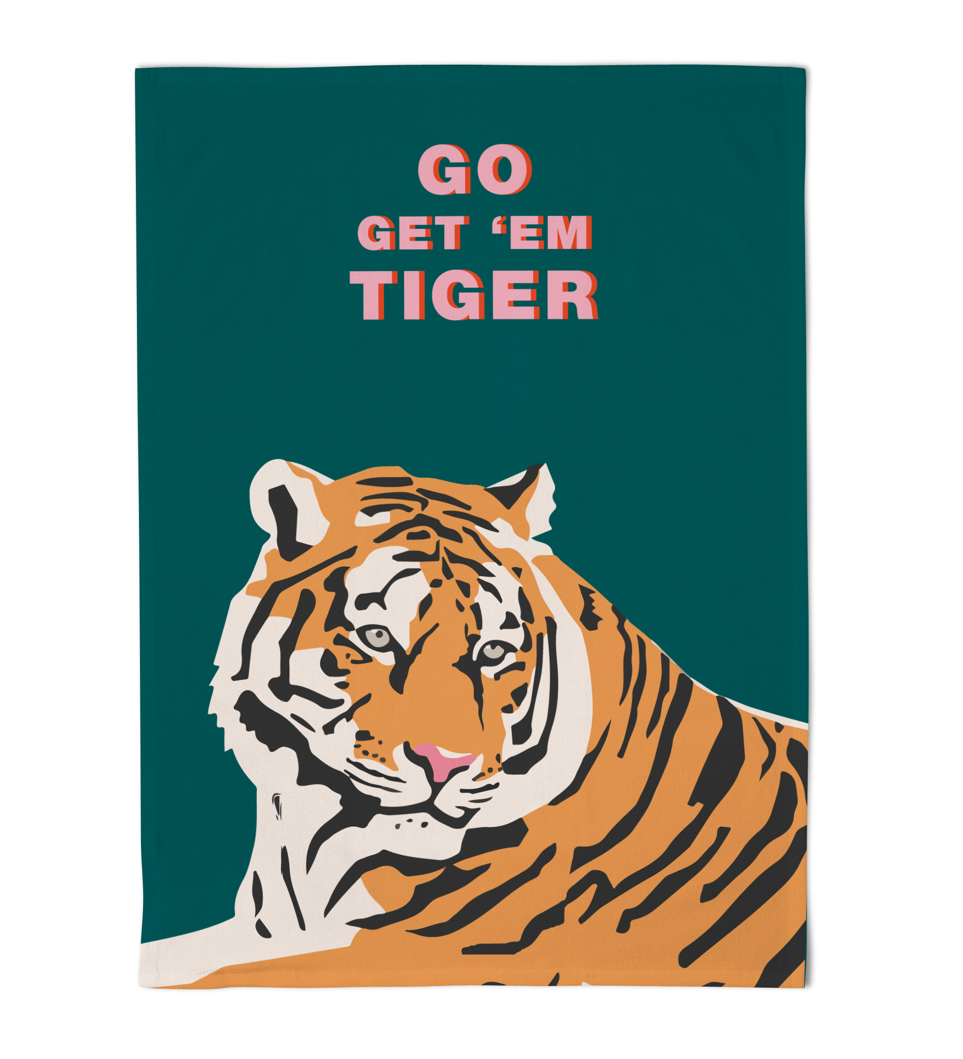 Emily Brooks Tea Towel Tiger Teal Sparkle Gift