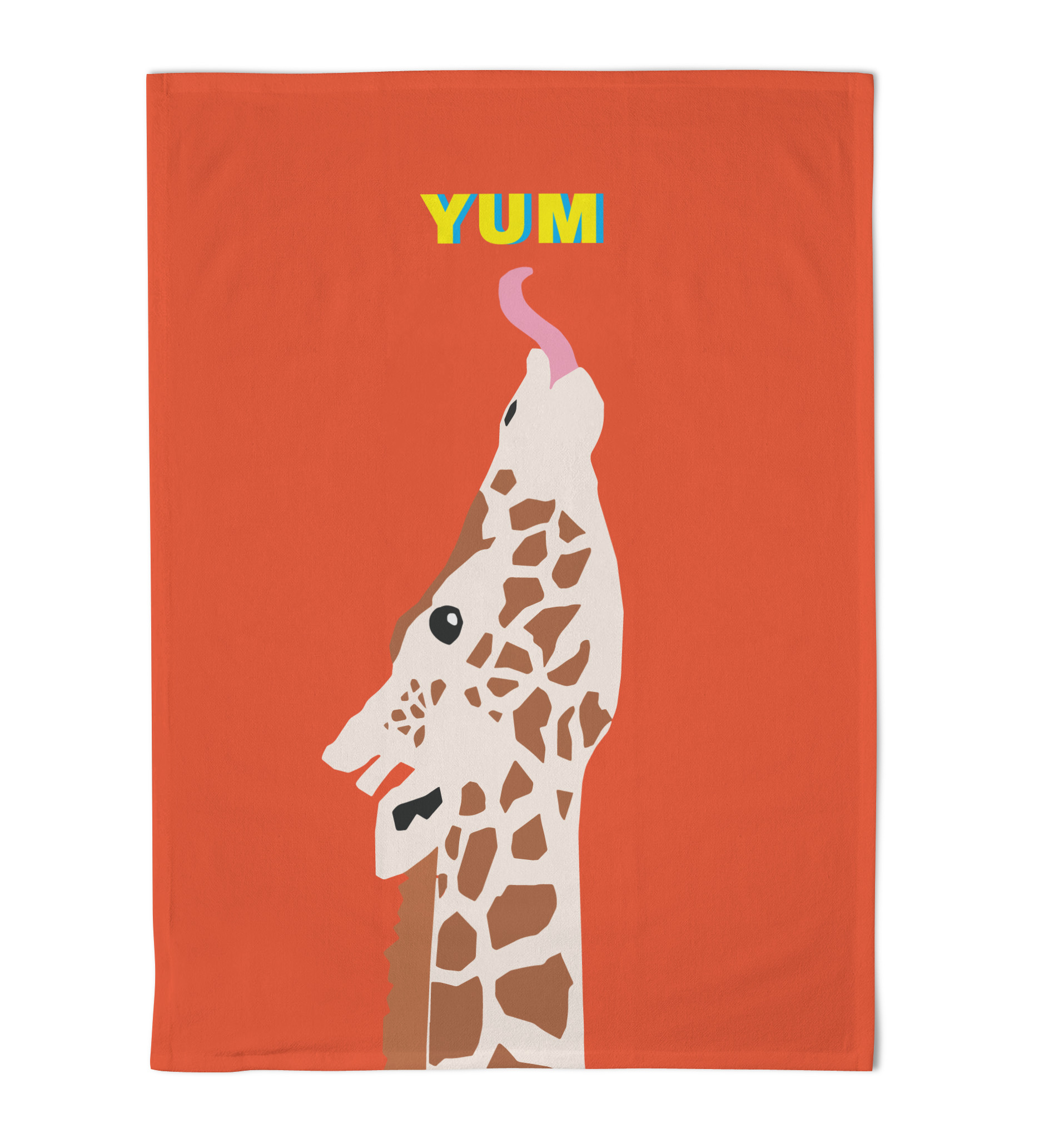 Emily Brooks Tea Towel Giraffe Orange Red Sparkle Gift