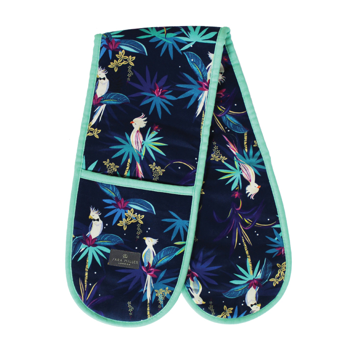 Sara Miller Double Oven Glove Tahiti Cockatoo Blue Sparkle Gift