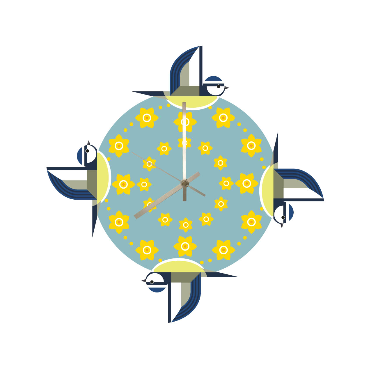 Ilb Marie Curie Blue Tit Daffodil Wall Clock Sparkle Gift