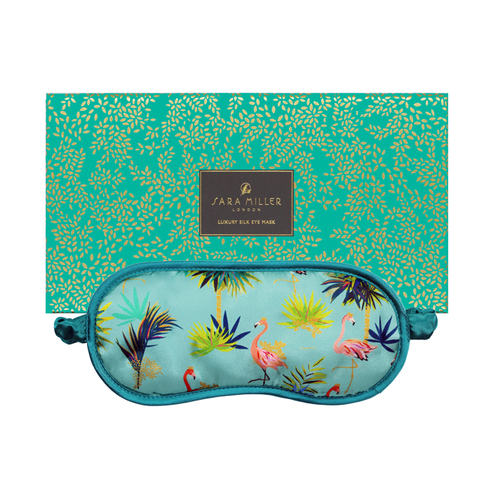 Sara Miller Silk Eye Mask Tahiti Flamingo Sparkle Gift