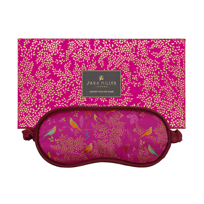 Sara Miller Silk Eye Mask Birds In A Tree Pink Sparkle Gift